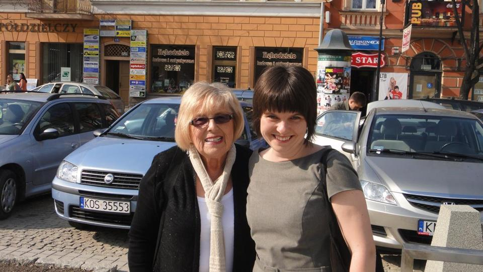 Janet Singer Applefield, with  Karolina Panz in Poland.